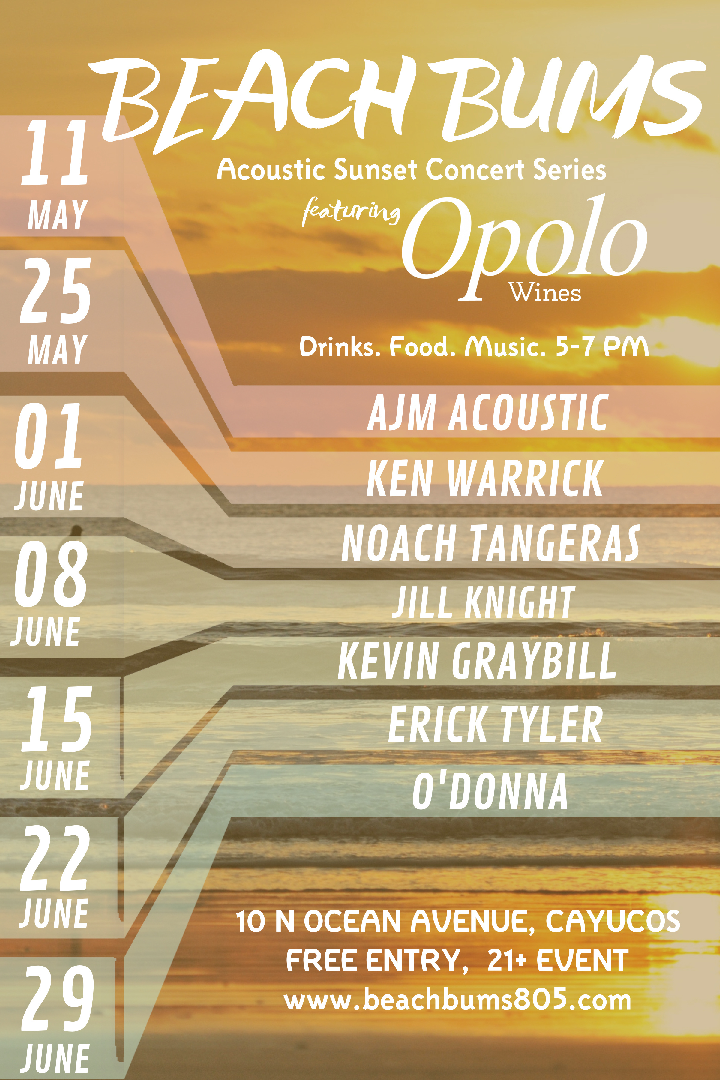 Beach Bums Acoustic Sunset Concert Series feat Opolo